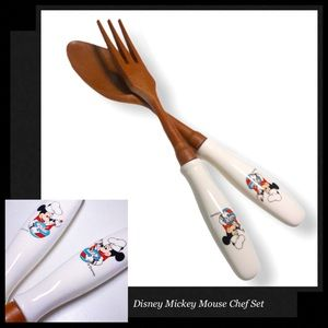 DISNEY Mickey Mouse Chef Fork & Spoon Serving Set